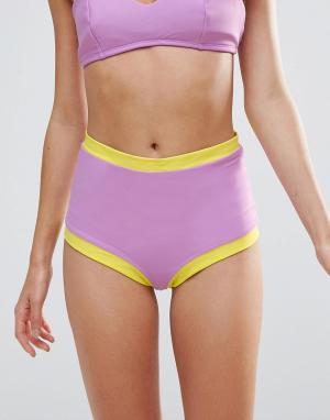 Lolli Плавки-бикини с завышенной талией и контрастной отделкой по краям Loll. Цвет: фиолетовый