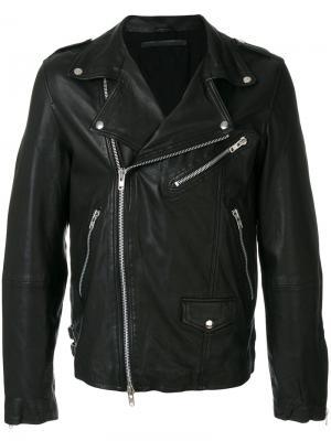 Байкерская куртка с отделкой молниями Munderingskompagniet. Цвет: чёрный