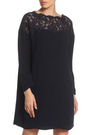 Свободное платье с кружевом Valentino. Цвет: темно-синий