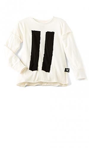 Полосатая футболка с накладной вышивкой Nununu. Цвет: белый