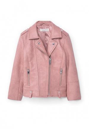 Куртка кожаная Mango Kids. Цвет: розовый