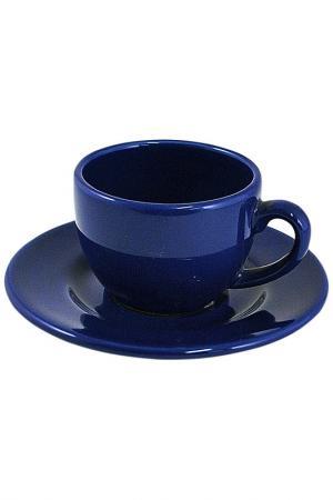 Чашка кофейная с блюдцем Waechtersbacher. Цвет: синий