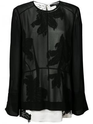 Блузка с цветочным принтом Derek Lam. Цвет: чёрный