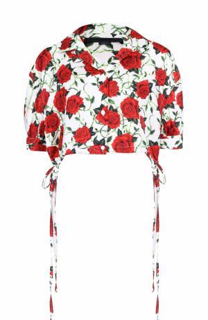 Укороченная шелковая блуза с цветочным принтом Alexander Wang. Цвет: бежевый