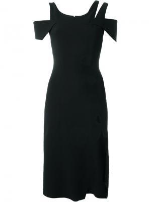 Асимметричное платье с вырезами Christopher Kane. Цвет: чёрный