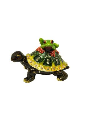 Шкатулка Черепаха  с лягушкой Yen Ten. Цвет: зеленый, желтый