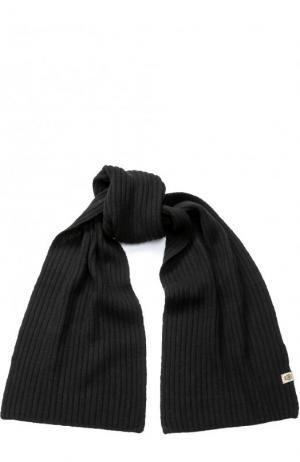 Шарф фактурной вязки из смеси шерсти и кашемира Roeckl. Цвет: черный