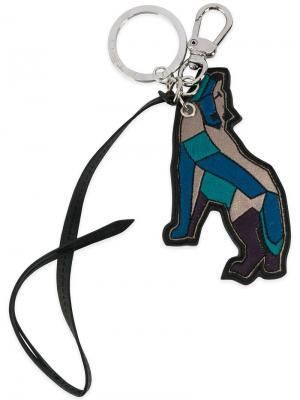 Брелок для ключей в виде волка Etro. Цвет: синий