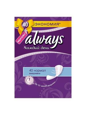 Ежедневные гигиенические прокладки на каждый день Нормал Duo, 40шт. Always. Цвет: фиолетовый
