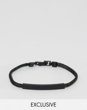 DesignB London Черный идентификационный браслет-цепочка эксклюзивно для ASOS. Цвет: черный