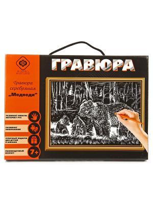 Набор для создания гравюры Медведи 21х30см Фабрика Фантазий. Цвет: серый
