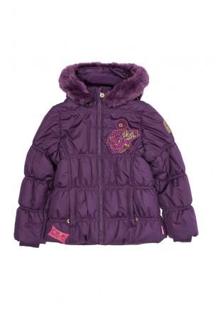 Утепленная куртка с капюшоном и мехом енота BY-178254 Pampolina. Цвет: фиолетовый