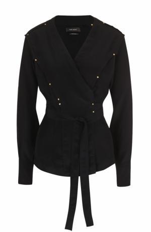 Шелковая блуза с запахом и поясом Isabel Marant. Цвет: черный