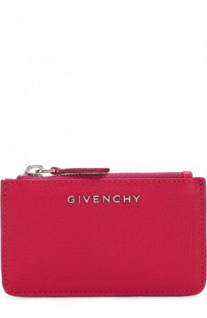Кожаный футляр для кредитных карт с логотипом бренда Givenchy. Цвет: фуксия