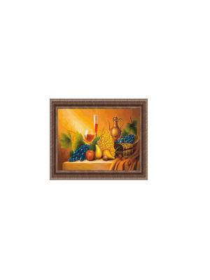 Натюрморт с бокалами В935 Картина в раме 20х30 PROFFI. Цвет: желтый, синий, красный