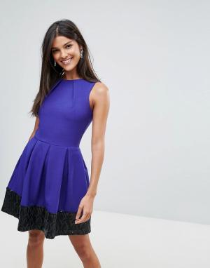 Closet London Короткое приталенное платье с контрастной отделкой пайетками у нижнего. Цвет: фиолетовый