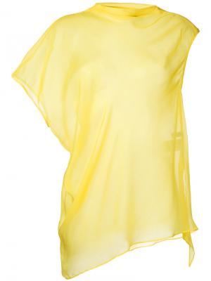 Прозрачный асимметричный топ 08Sircus. Цвет: жёлтый и оранжевый