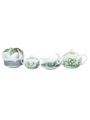 Чайный набор Ландыши Elan Gallery. Цвет: белый, зеленый