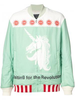 Куртка-бомбер  с принтом единорога Undercover. Цвет: зелёный