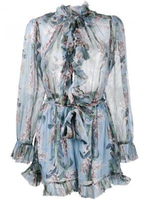 Кмобинезон Winsome с оборками и цветочным узором Zimmermann. Цвет: синий