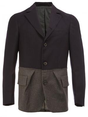 Пиджак с контрастной отделкой и прямоугольными лацканами Wooster + Lardini. Цвет: синий