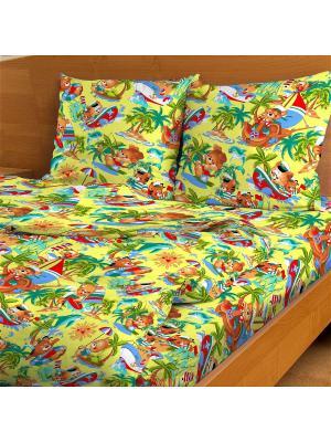Комплект постельного Морское путешествие, 1,5-спальный Letto. Цвет: желтый, зеленый, красный