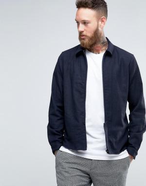 Hoxton Shirt Company Куртка узкого кроя на молнии. Цвет: темно-синий