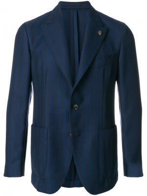 Классический приталенный пиджак Gabriele Pasini. Цвет: синий