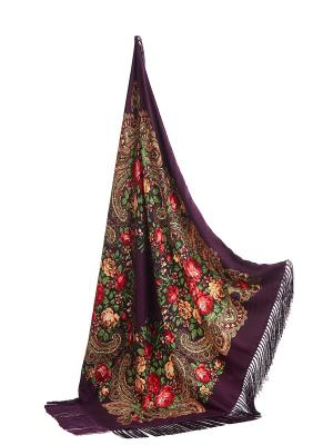 Платок с павлопосадским узором и длинной бахромой, 111 x cm Nothing but Love. Цвет: фиолетовый, зеленый, красный