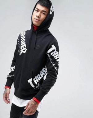 HUF Худи с логотипом x Thrasher. Цвет: черный