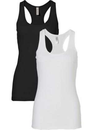 Спортивный летний топ (черный/белый) bonprix. Цвет: черный/белый