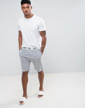 ASOS Трикотажные пижамные шорты скинни с фирменным поясом. Цвет: серый