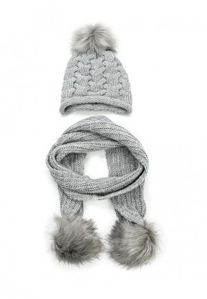 Комплект шапка и шарф Fete. Цвет: серый