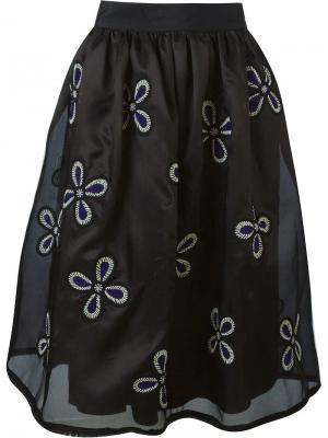 Юбка с цветочной вышивкой Jupe By Jackie. Цвет: чёрный