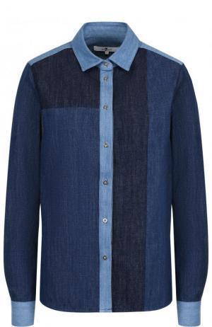 Джинсовая блуза прямого кроя 7 For All Mankind. Цвет: синий