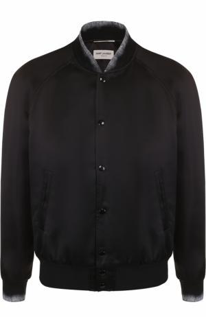 Бомбер из вискозы с принтом и шелковой отделкой Saint Laurent. Цвет: черный