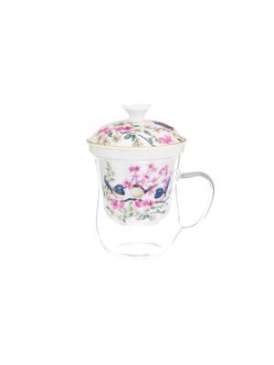 Кружка с керамическим ситом Райские птички Elan Gallery. Цвет: розовый,белый,синий