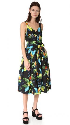 Платье с корсетным лифом и принтом в виде попугая Marc Jacobs. Цвет: черный мульти