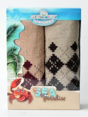Набор махровых полотенец орнамент Домтекс. Цвет: бордовый, коричневый