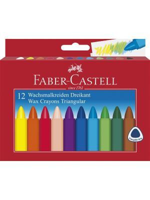 Трехгранные восковые карандаши TRIANGULAR, набор цветов, в картонной коробке, 12 шт. Faber-Castell. Цвет: красный