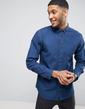 Selected Homme Рубашка классического кроя из джинсового твила. Цвет: синий