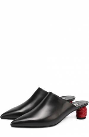 Кожаные мюли на декорированном каблуке Balenciaga. Цвет: черный