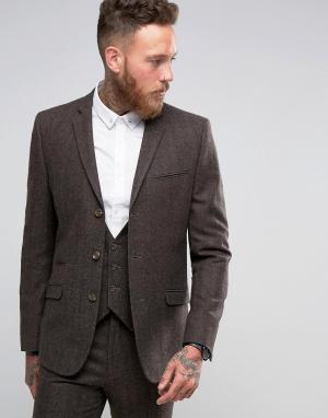 ASOS Коричневый пиджак слим в елочку. Цвет: коричневый