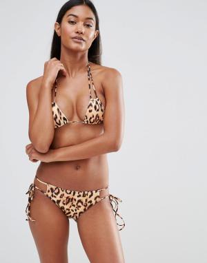 Hot as Hell Плавки бикини на завязках с леопардовым принтом. Цвет: мульти