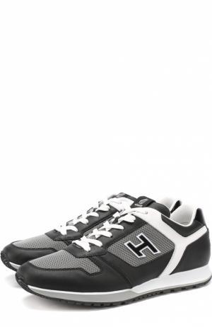 Кожаные кроссовки с текстильными вставками Hogan. Цвет: черный