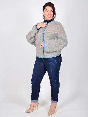 Куртка вязаная Donnola Happiness. Цвет: голубой, кремовый