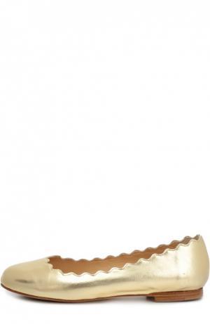 Балетки Lauren с фигурным вырезом Chloé. Цвет: золотой