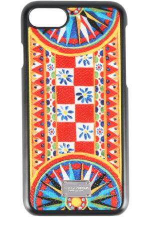 Кожаный чехол для iPhone 7 Plus с принтом Dolce & Gabbana. Цвет: синий