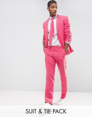 Oppo Suits Розовый облегающий костюм и галстук OppoSuits PROM. Цвет: розовый