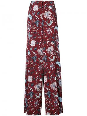 Широкие брюки  с завышенной талией Dvf Diane Von Furstenberg. Цвет: красный